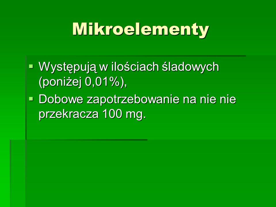 Mikroelementy Występują w ilościach śladowych (poniżej 0,01%),