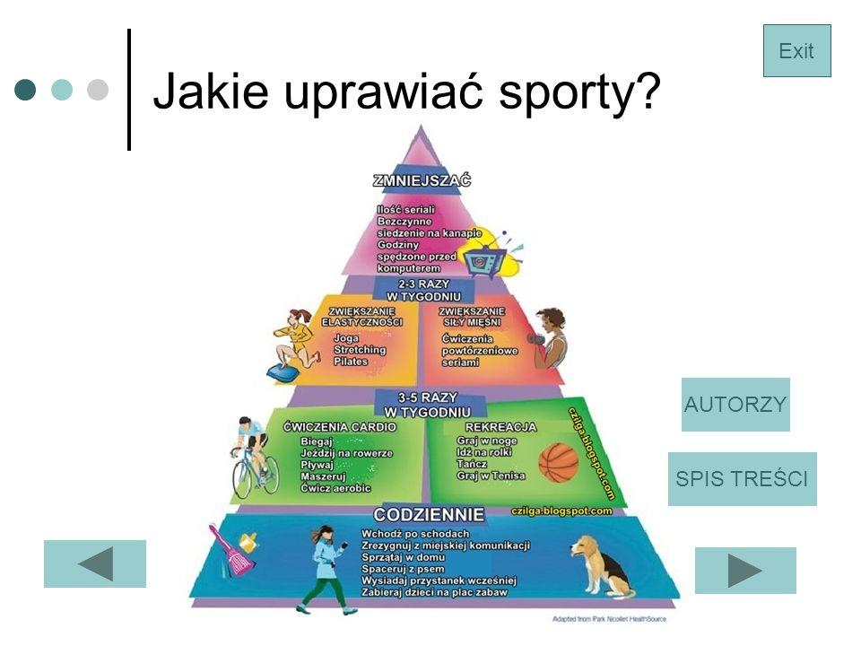 Jakie uprawiać sporty Exit AUTORZY SPIS TREŚCI