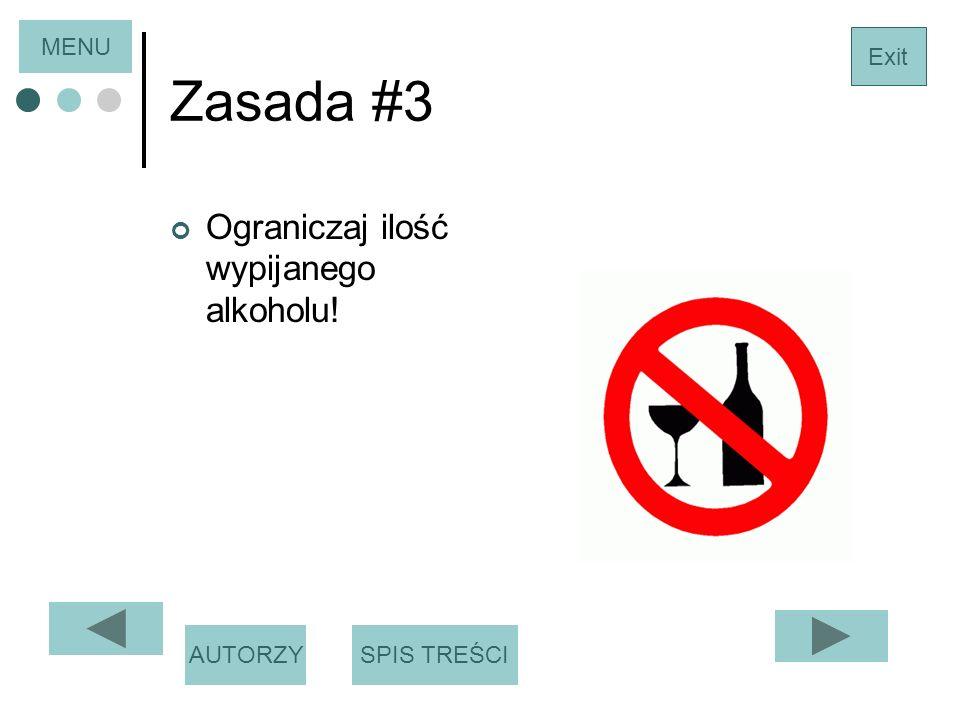 Zasada #3 Ograniczaj ilość wypijanego alkoholu! MENU Exit AUTORZY