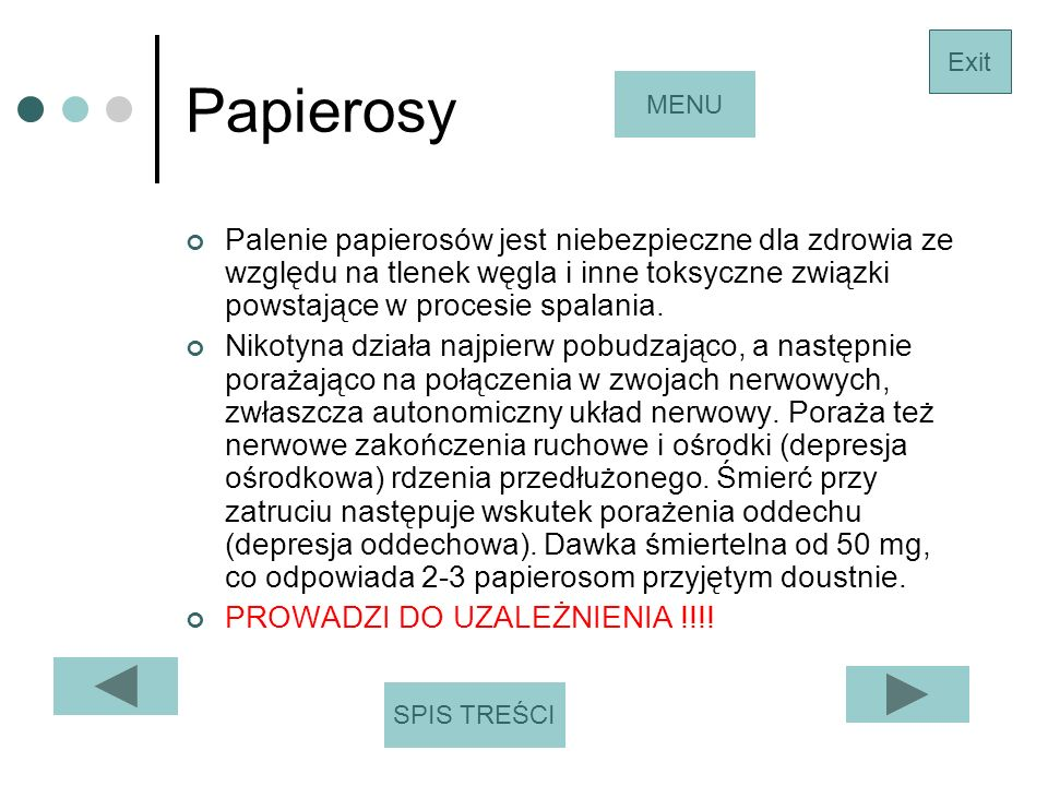 Papierosy Exit. MENU.