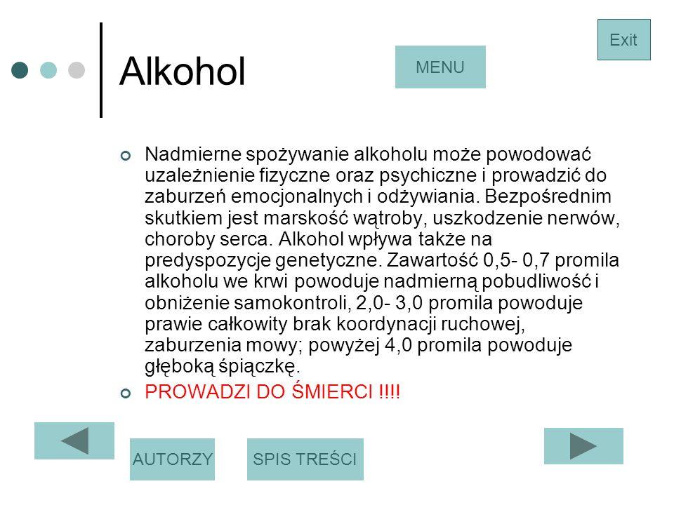 Alkohol Exit. MENU.