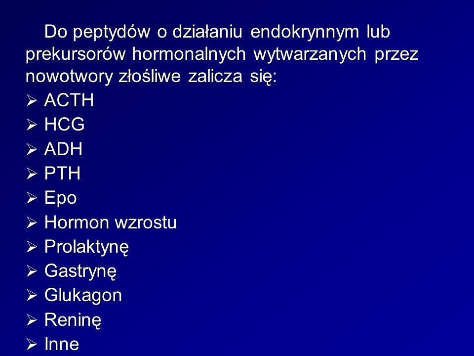 Do peptydów o działaniu endokrynnym lub prekursorów hormonalnych wytwarzanych przez nowotwory złośliwe zalicza się: