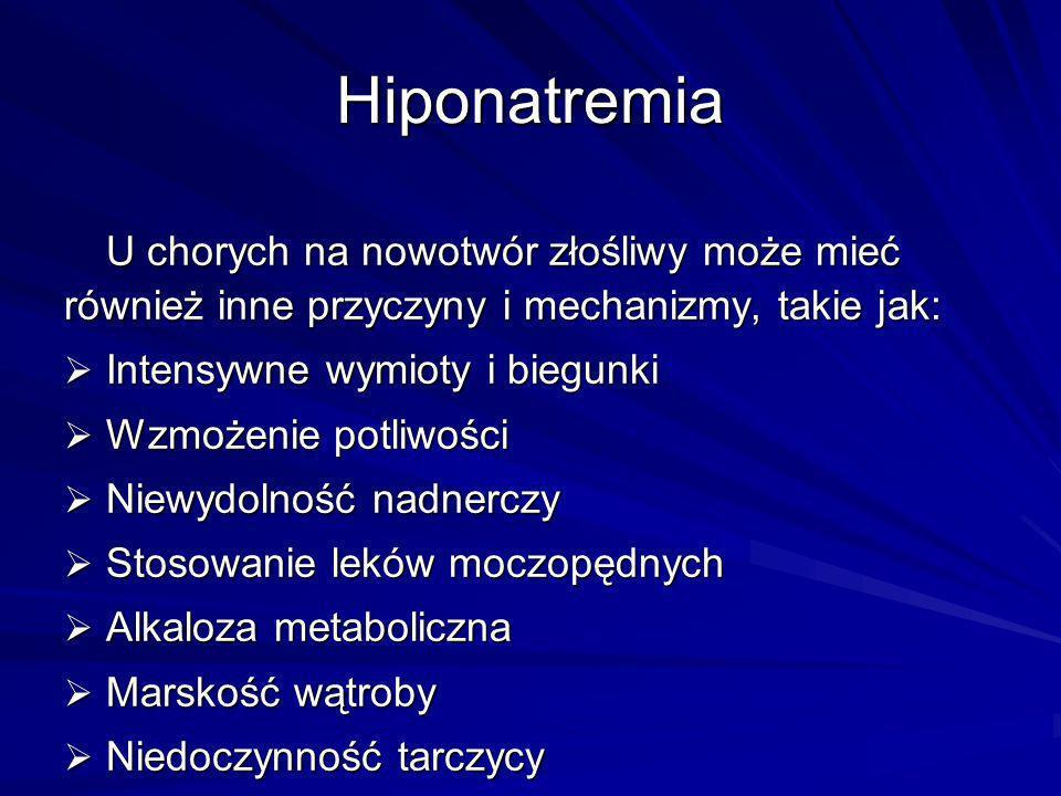 Hiponatremia U chorych na nowotwór złośliwy może mieć również inne przyczyny i mechanizmy, takie jak: