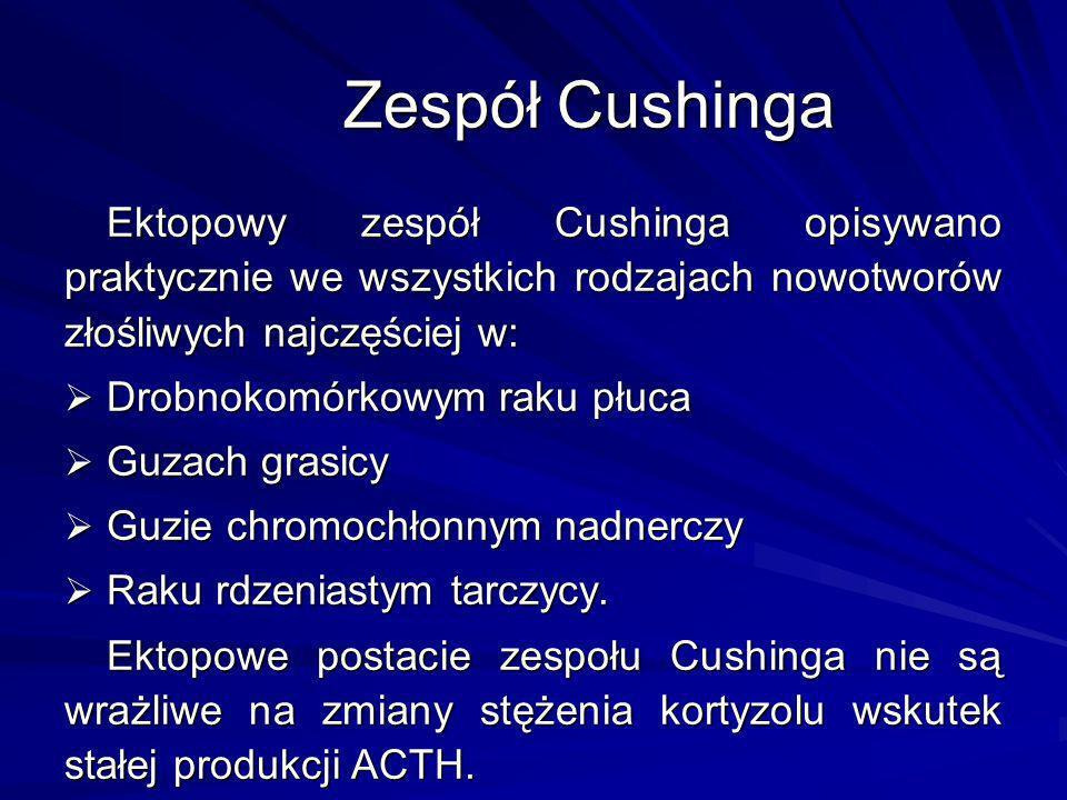 Zespół Cushinga Ektopowy zespół Cushinga opisywano praktycznie we wszystkich rodzajach nowotworów złośliwych najczęściej w: