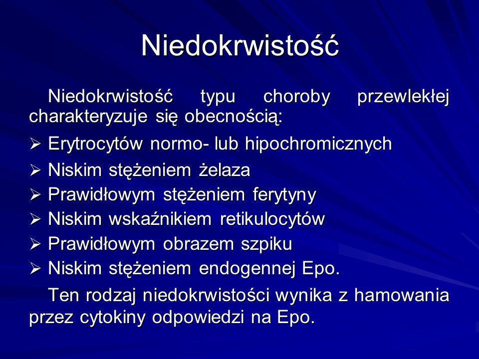 Niedokrwistość Niedokrwistość typu choroby przewlekłej charakteryzuje się obecnością: Erytrocytów normo- lub hipochromicznych.