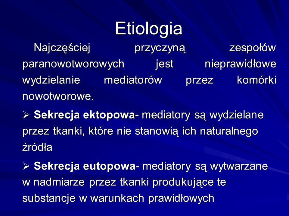 Etiologia Najczęściej przyczyną zespołów paranowotworowych jest nieprawidłowe wydzielanie mediatorów przez komórki nowotworowe.