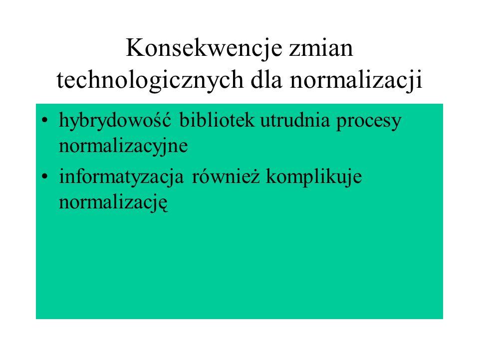 Konsekwencje zmian technologicznych dla normalizacji