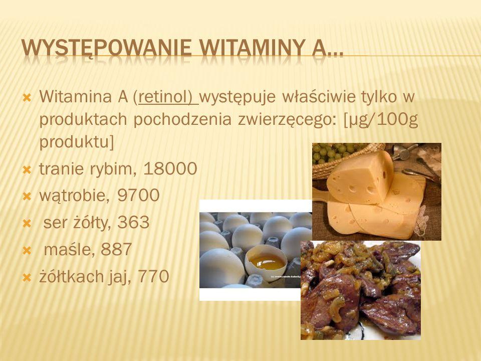 Występowanie witaminy a…