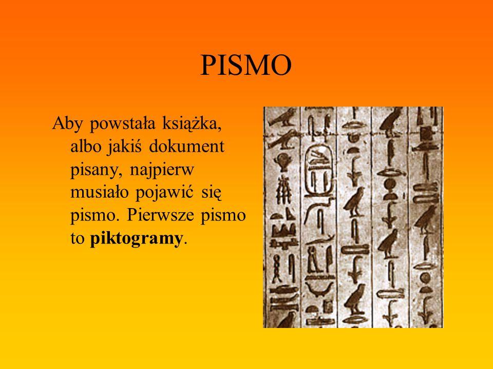 PISMO Aby powstała książka, albo jakiś dokument pisany, najpierw musiało pojawić się pismo.