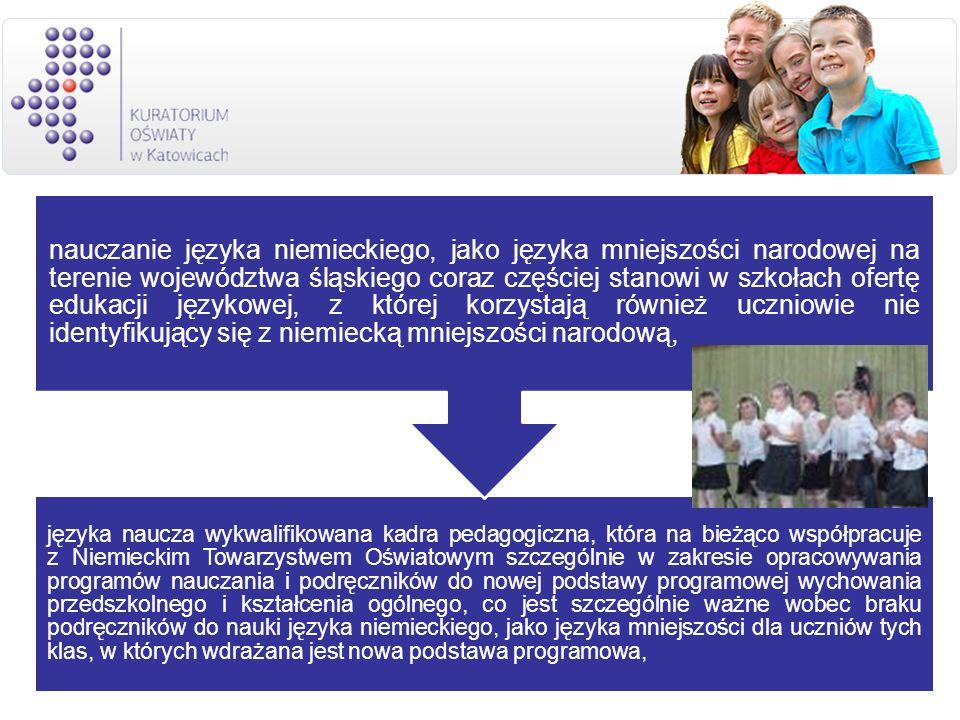 języka naucza wykwalifikowana kadra pedagogiczna, która na bieżąco współpracuje z Niemieckim Towarzystwem Oświatowym szczególnie w zakresie opracowywania programów nauczania i podręczników do nowej podstawy programowej wychowania przedszkolnego i kształcenia ogólnego, co jest szczególnie ważne wobec braku podręczników do nauki języka niemieckiego, jako języka mniejszości dla uczniów tych klas, w których wdrażana jest nowa podstawa programowa,