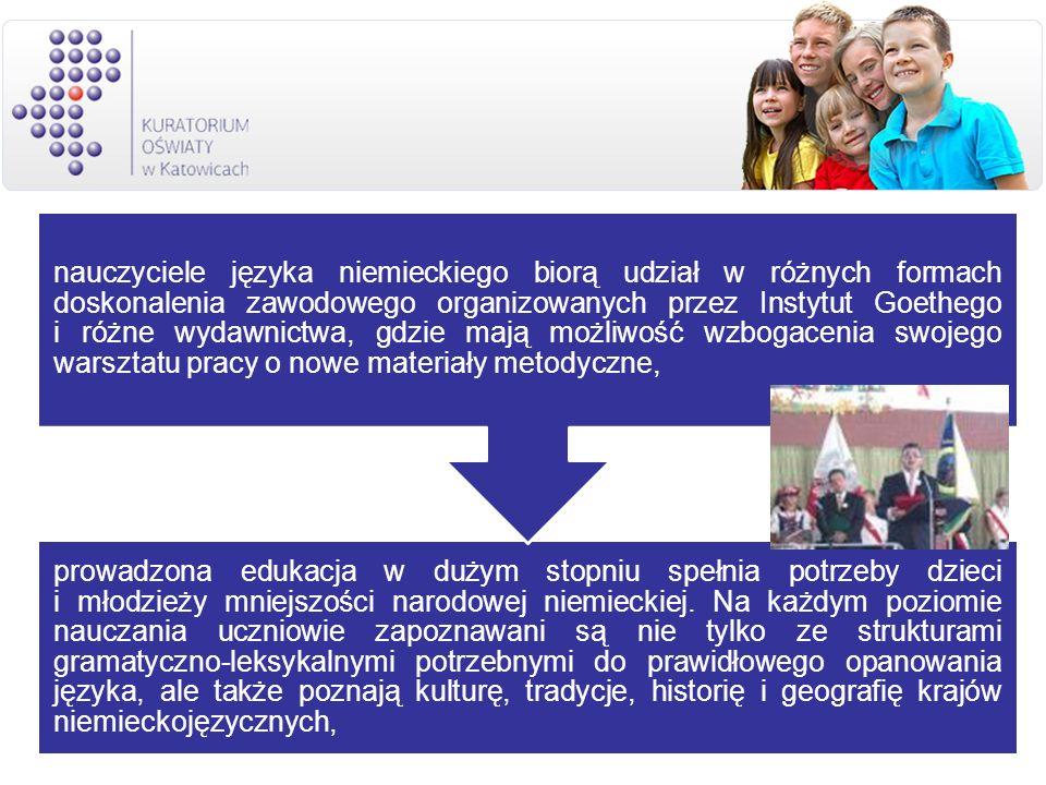 prowadzona edukacja w dużym stopniu spełnia potrzeby dzieci i młodzieży mniejszości narodowej niemieckiej. Na każdym poziomie nauczania uczniowie zapoznawani są nie tylko ze strukturami gramatyczno-leksykalnymi potrzebnymi do prawidłowego opanowania języka, ale także poznają kulturę, tradycje, historię i geografię krajów niemieckojęzycznych,