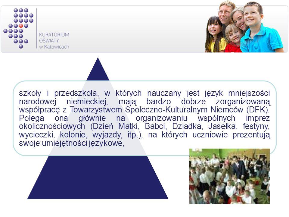 szkoły i przedszkola, w których nauczany jest język mniejszości narodowej niemieckiej, mają bardzo dobrze zorganizowaną współpracę z Towarzystwem Społeczno-Kulturalnym Niemców (DFK).