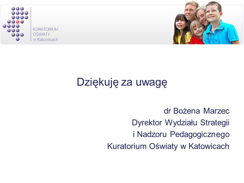 Dziękuję za uwagę dr Bożena Marzec Dyrektor Wydziału Strategii