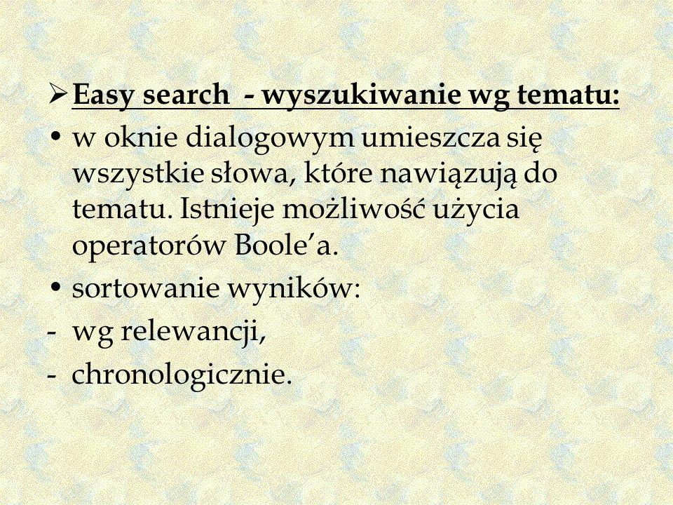 Easy search - wyszukiwanie wg tematu: