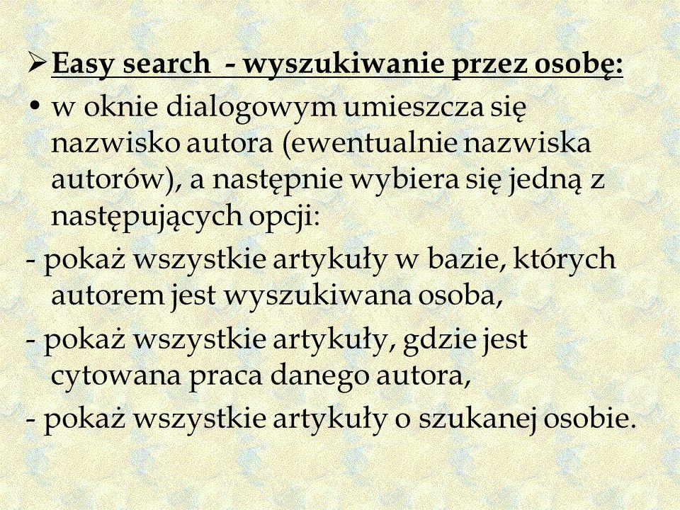 Easy search - wyszukiwanie przez osobę: