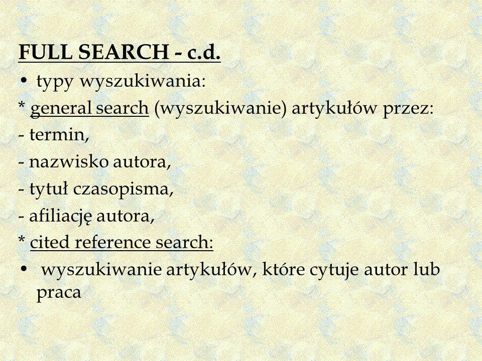 FULL SEARCH - c.d. typy wyszukiwania: