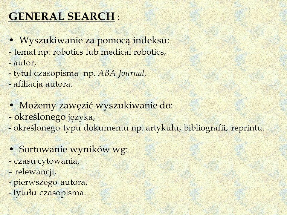 GENERAL SEARCH : Wyszukiwanie za pomocą indeksu:
