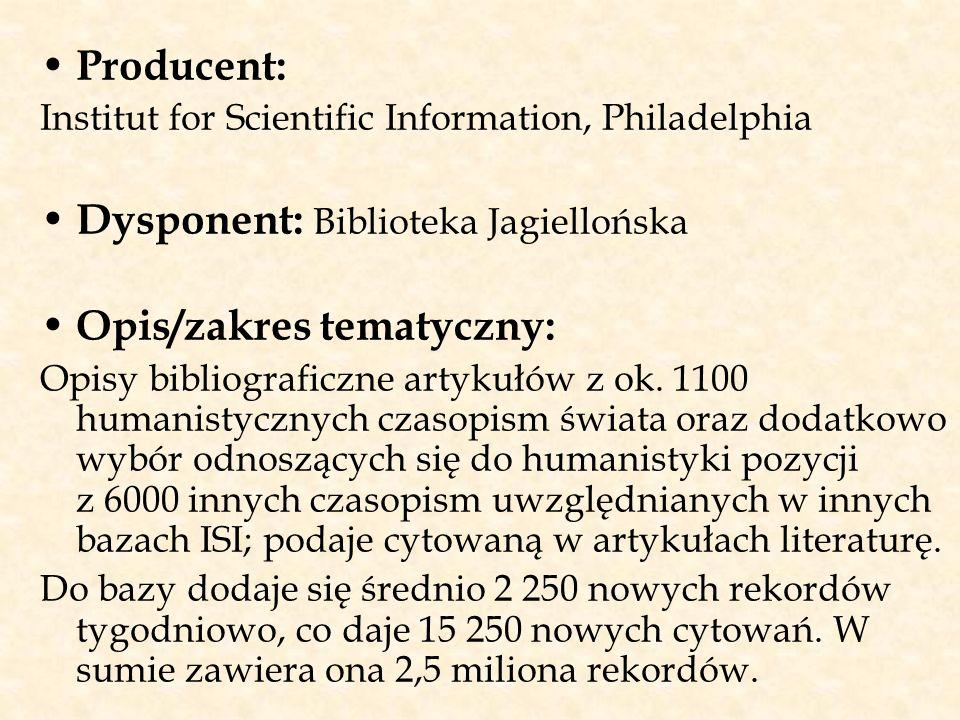 Dysponent: Biblioteka Jagiellońska Opis/zakres tematyczny: