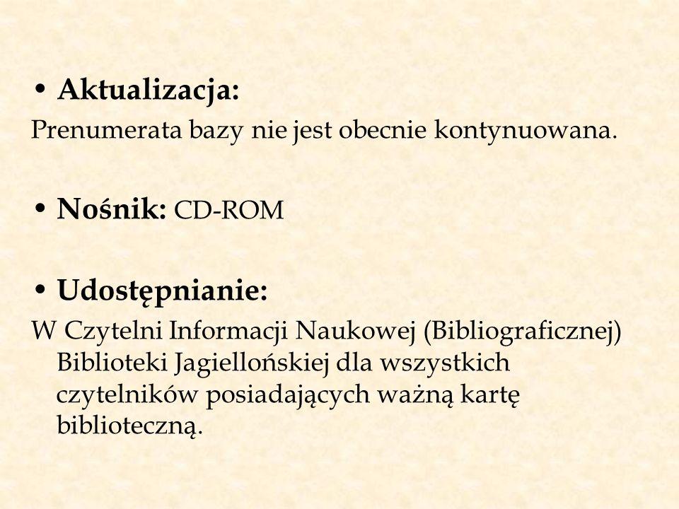 Aktualizacja: Nośnik: CD-ROM Udostępnianie: