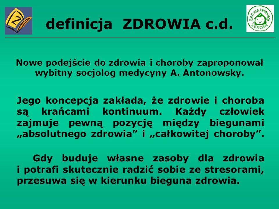 definicja ZDROWIA c.d. Nowe podejście do zdrowia i choroby zaproponował wybitny socjolog medycyny A. Antonowsky.