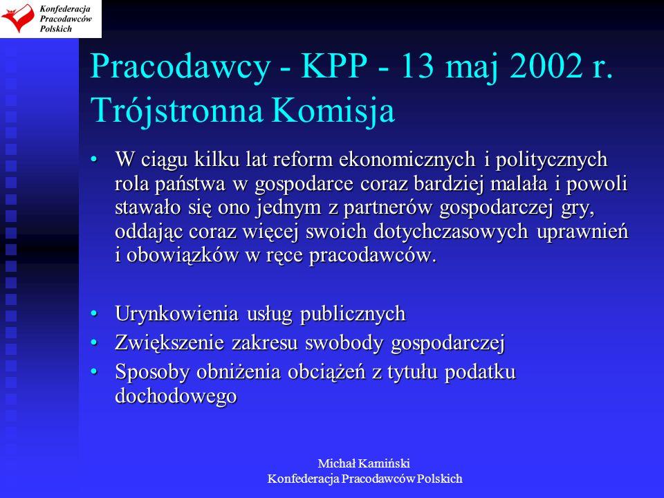 Pracodawcy - KPP - 13 maj 2002 r. Trójstronna Komisja