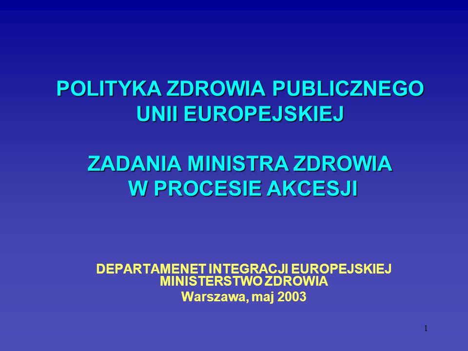 DEPARTAMENET INTEGRACJI EUROPEJSKIEJ MINISTERSTWO ZDROWIA