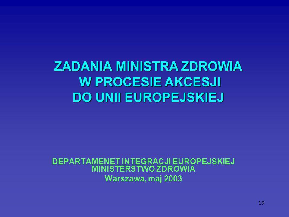 ZADANIA MINISTRA ZDROWIA W PROCESIE AKCESJI DO UNII EUROPEJSKIEJ