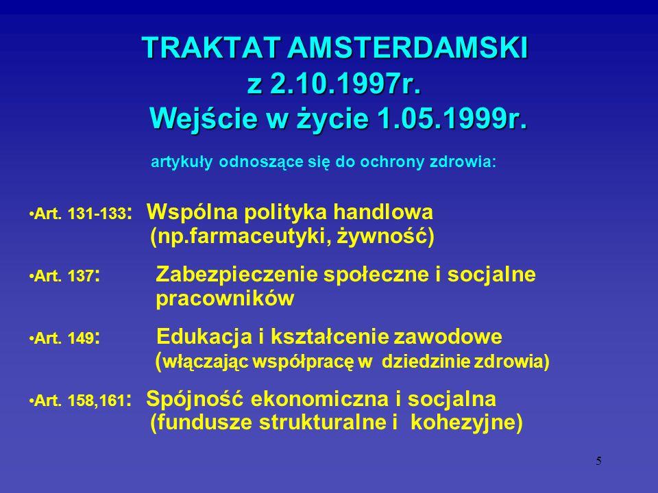 TRAKTAT AMSTERDAMSKI z 2.10.1997r. Wejście w życie 1.05.1999r.