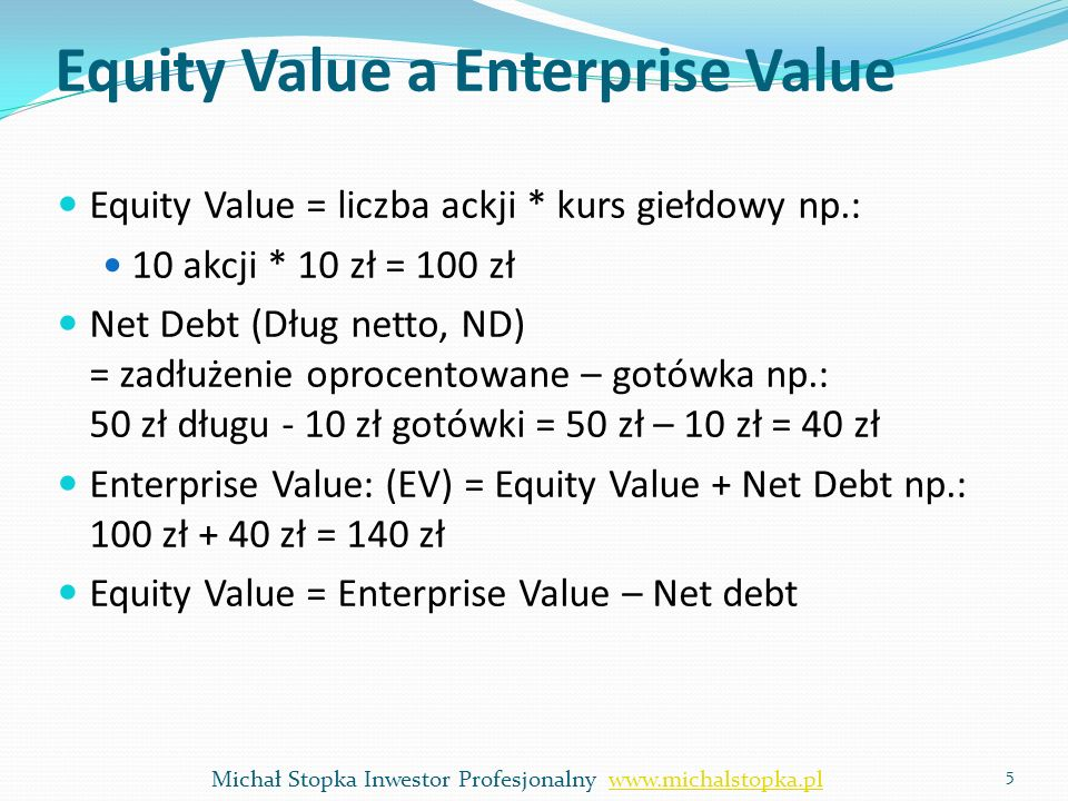 Equity Value a Enterprise Value