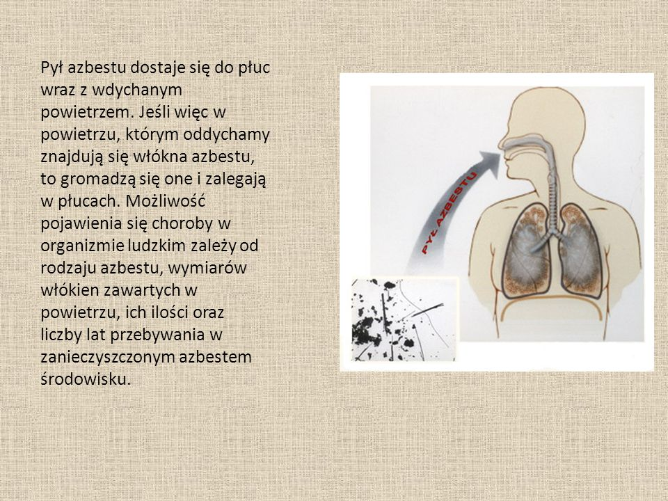Pył azbestu dostaje się do płuc wraz z wdychanym powietrzem