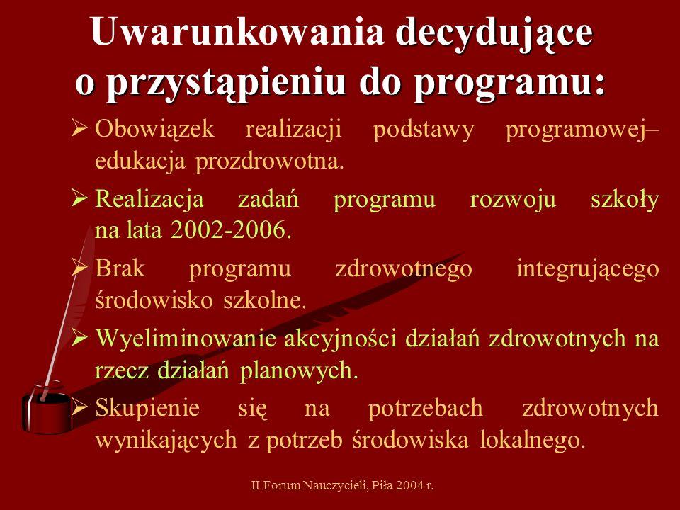 Uwarunkowania decydujące o przystąpieniu do programu: