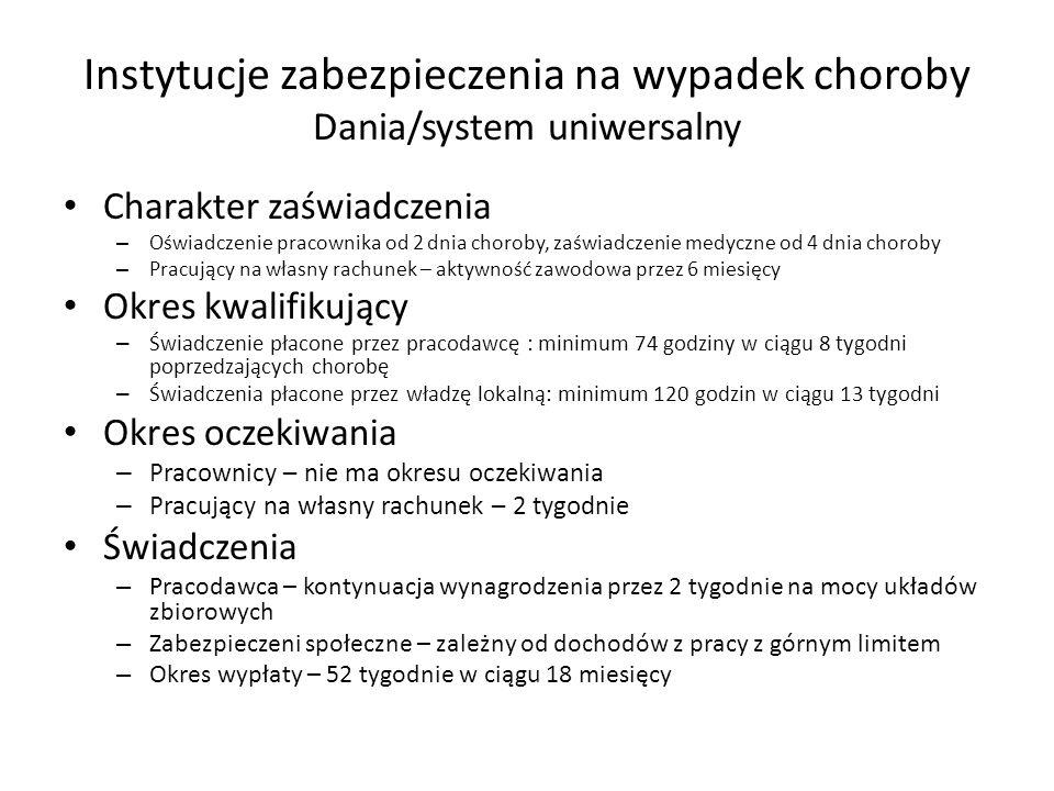 Instytucje zabezpieczenia na wypadek choroby Dania/system uniwersalny