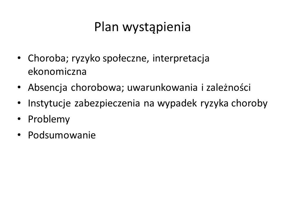 Plan wystąpienia Choroba; ryzyko społeczne, interpretacja ekonomiczna