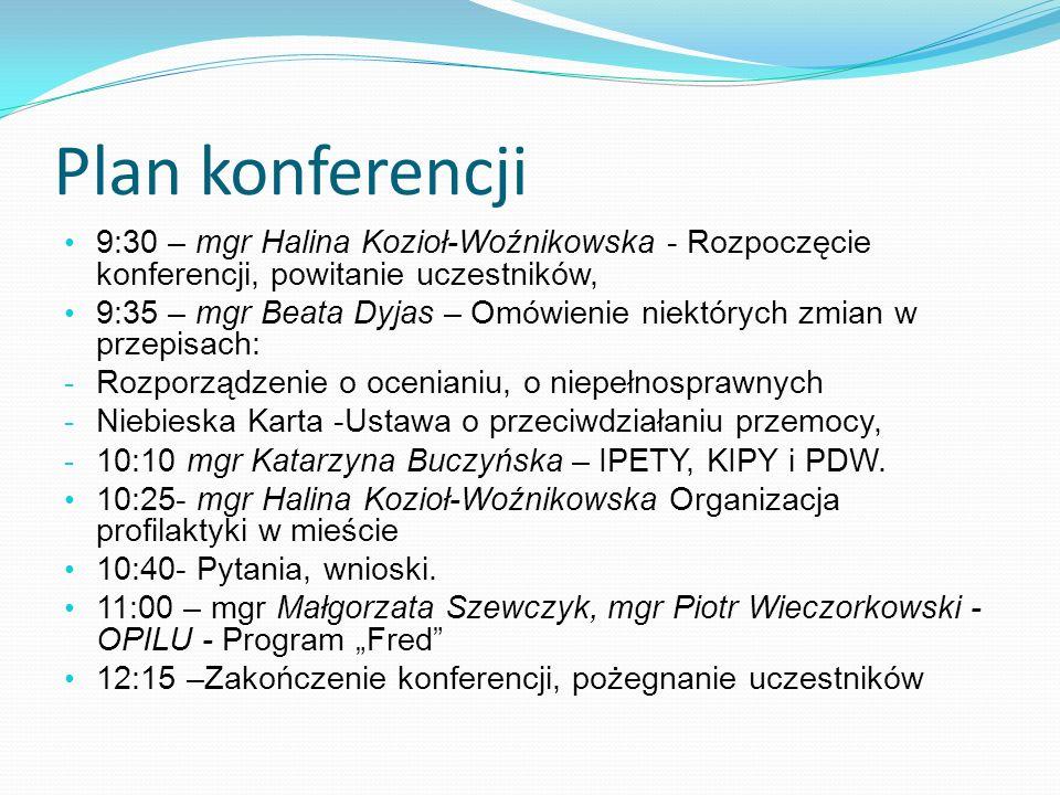 Plan konferencji 9:30 – mgr Halina Kozioł-Woźnikowska - Rozpoczęcie konferencji, powitanie uczestników,