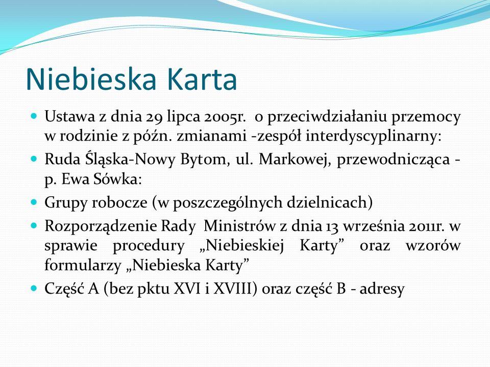 Niebieska KartaUstawa z dnia 29 lipca 2005r. o przeciwdziałaniu przemocy w rodzinie z późn. zmianami -zespół interdyscyplinarny: