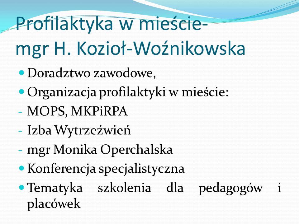 Profilaktyka w mieście- mgr H. Kozioł-Woźnikowska