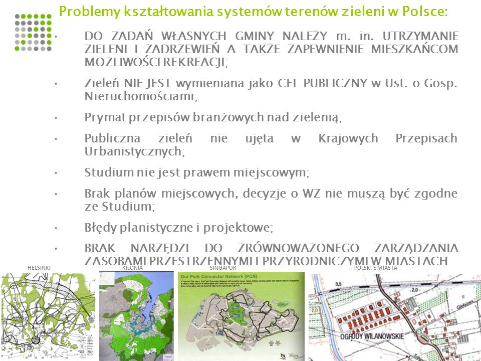 Problemy kształtowania systemów terenów zieleni w Polsce: