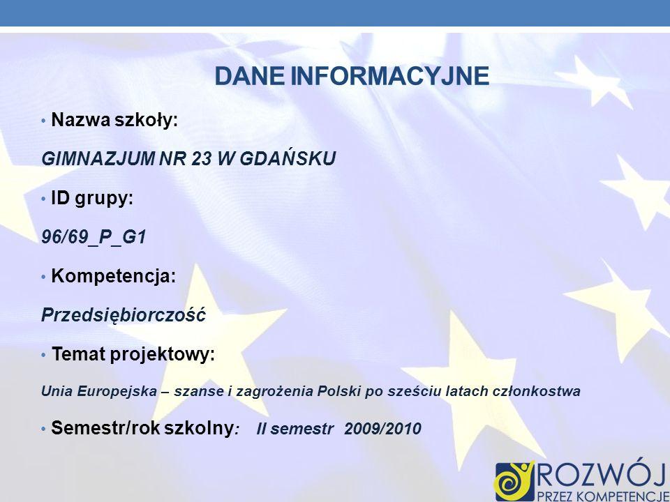 Dane INFORMACYJNE Nazwa szkoły: GIMNAZJUM NR 23 W GDAŃSKU ID grupy: