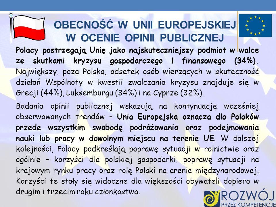 Obecność w Unii Europejskiej w ocenie opinii publicznej