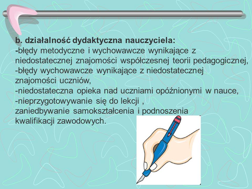 b. działalność dydaktyczna nauczyciela: