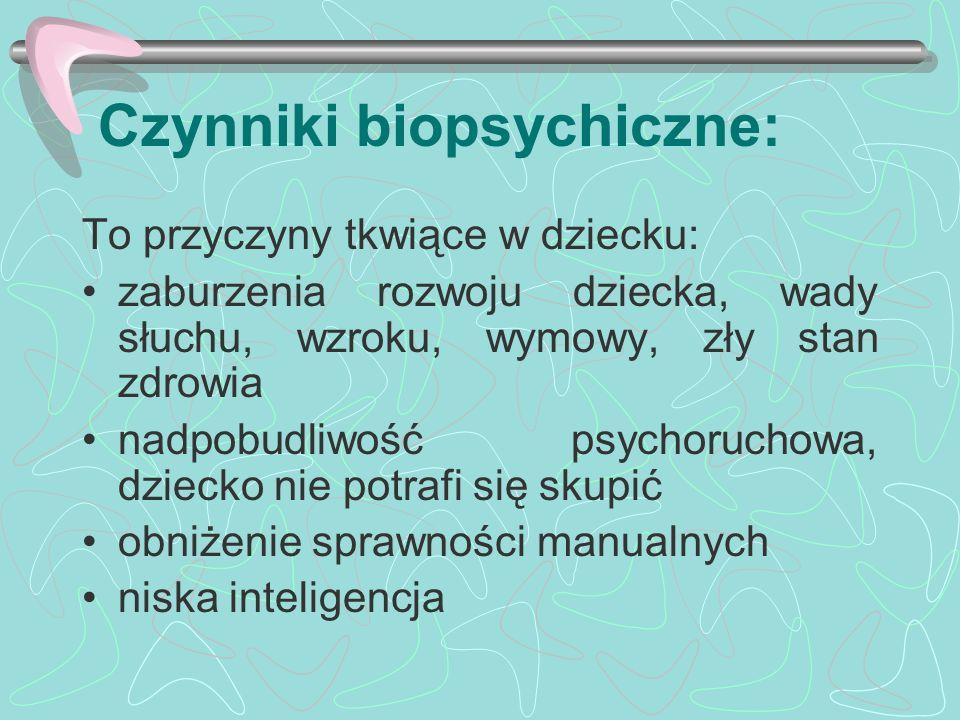 Czynniki biopsychiczne: