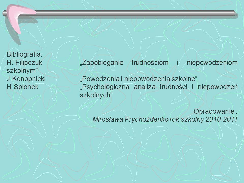 """Bibliografia: H. Filipczuk """"Zapobieganie trudnościom i niepowodzeniom szkolnym J.Konopnicki """"Powodzenia i niepowodzenia szkolne"""