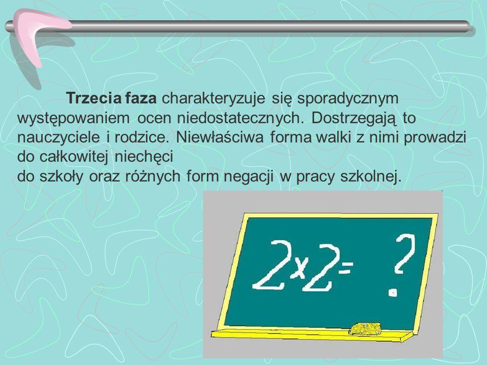 Trzecia faza charakteryzuje się sporadycznym występowaniem ocen niedostatecznych. Dostrzegają to nauczyciele i rodzice. Niewłaściwa forma walki z nimi prowadzi