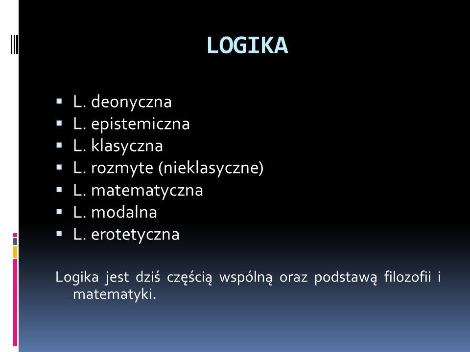 LOGIKA L. deonyczna L. epistemiczna L. klasyczna