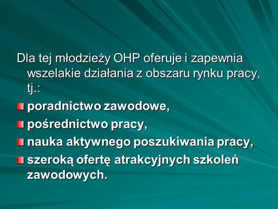 Dla tej młodzieży OHP oferuje i zapewnia wszelakie działania z obszaru rynku pracy, tj.: