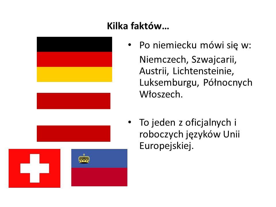 Kilka faktów… Po niemiecku mówi się w: Niemczech, Szwajcarii, Austrii, Lichtensteinie, Luksemburgu, Północnych Włoszech.