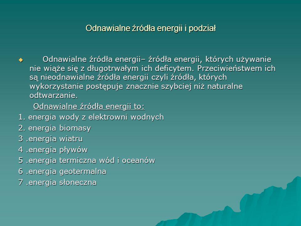 Odnawialne źródła energii i podział