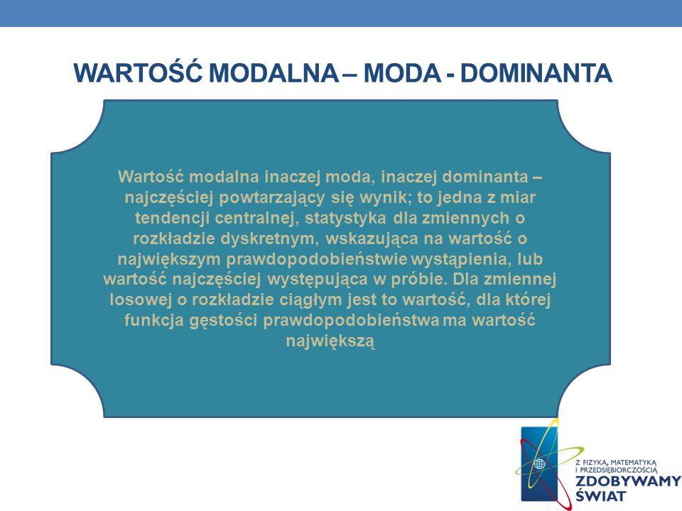 Wartość modalna – MODA - DOMINANTA