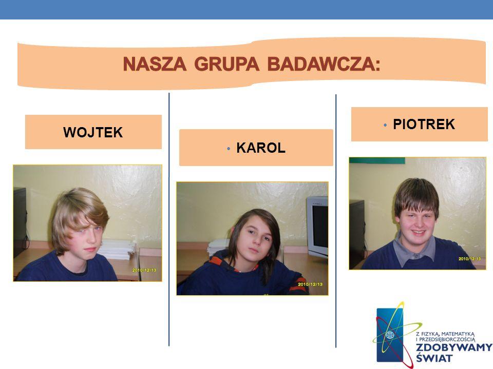 Nasza grupa badawcza: Nasza grupa badawcza: PIOTREK WOJTEK KAROL