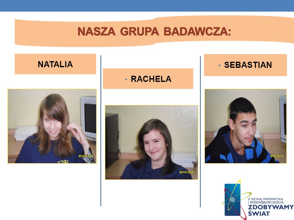 Nasza grupa badawcza: NATALIA SEBASTIAN RACHELA